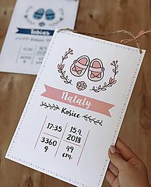 Detské doplnky - Tabuľka pre bábätko s údajmi o narodení topánočky - 12899023_