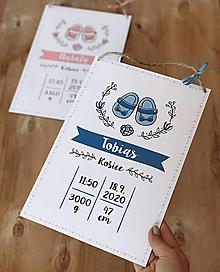 Detské doplnky - Tabuľka pre bábätko s údajmi o narodení modré topánočky - 12899030_