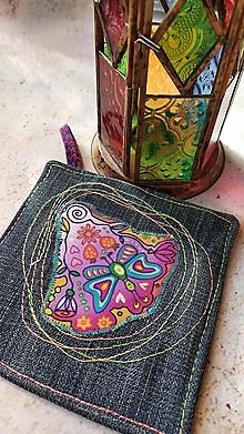 Úžitkový textil - Motýľ, ktorý chcel byt netopierom, podložka pod hrnček - 12899570_