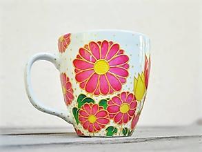Nádoby - Maľovaný hrnček - Kvetinový - 12899794_
