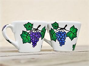 Nádoby - Maľovaná šálka na kávu 130 ml - Vínna réva - 12902445_
