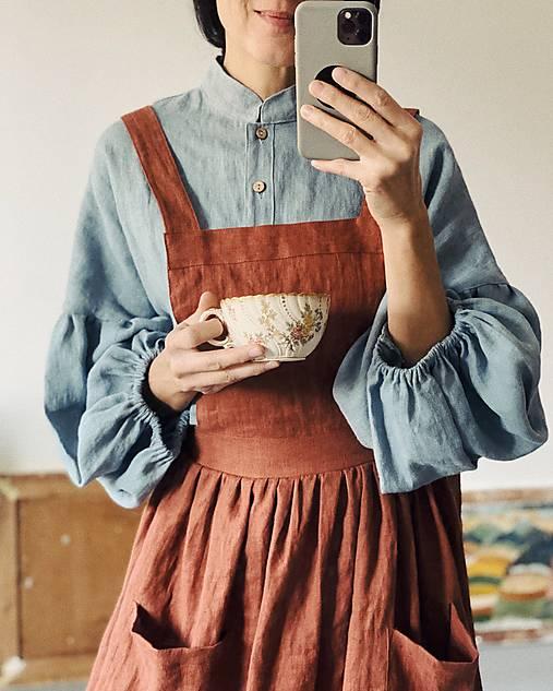 Košele - Dámska ľanová košeľa EVA - 12899732_