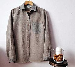 Košele - Dámska ľanová košeľa - kombinácia s pásikom - 12900134_