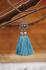 Náušnice - Náušnice strapcové modré - 12901968_