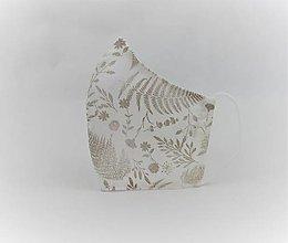 Rúška - Tvarované rúško na tvár -bielo béžové - 12899122_