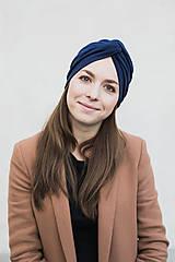 Čiapky - Tmavomodrý prekrížený turban - 12900695_