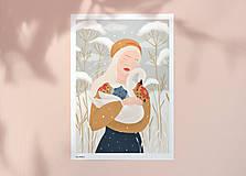 Grafika - Labuť - umělecký tisk - 12904280_
