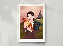 Grafika - Kohout - umělecký tisk - 12904288_