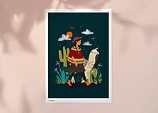 Grafika - Lama - umělecký tisk - 12905326_
