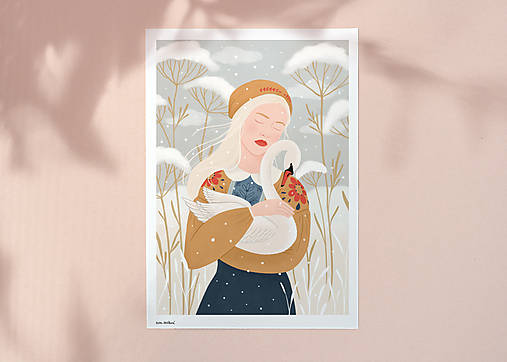 Labuť - umělecký tisk