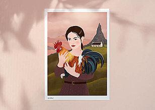 Grafika - Kohout - umělecký tisk - 12904292_