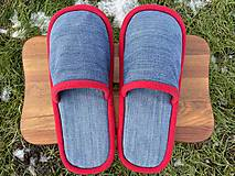 Obuv - Modré riflové papuče s červeným lemom - 12904661_