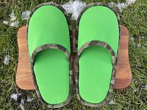 Obuv - Veľké zelené papuče - 12904752_
