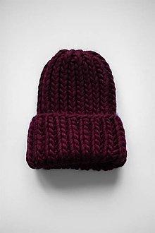 Čiapky - Chunky čiapka vo farbe Bordeaux - 12905845_