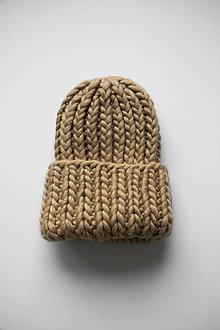 Čiapky - Chunky čiapka vo farbe Beige Blonde - 12905858_