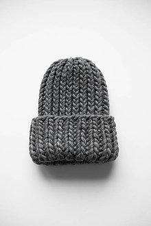 Čiapky - Chunky čiapka vo farbe Tweed Grey - 12906385_