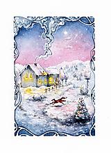 Obrazy - Zimná rozprávka s líštičkou Art Print - 12905891_