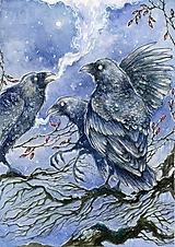 Obrazy - Havrany v šípkových hmlách Art Print - 12906192_