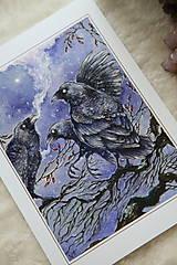 Obrazy - Havrany v šípkových hmlách Art Print - 12906214_