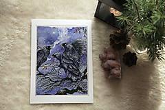 Obrazy - Havrany v šípkových hmlách Art Print - 12906216_
