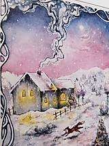 Obrazy - Zimná rozprávka s líštičkou Art Print - 12906274_