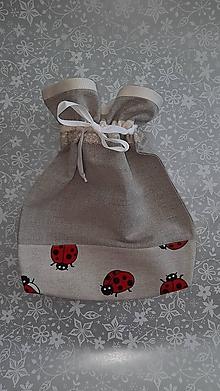 Iné tašky - Ľanové vrecko na bylinky Lienky - 12909561_