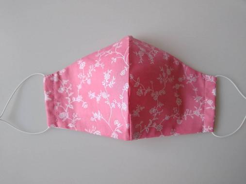 Dizajnové rúško kvietky ružové tvarované dvojvrstvové