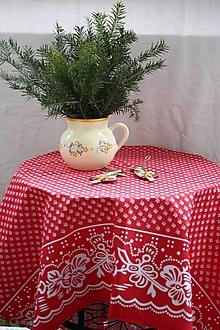 Úžitkový textil - Obrus. Vidiecký slávnostný obrus s bordurou. - 12908601_