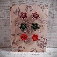 Náušnice - Náušničky napichovacie sada, kvetinky, staroružová, červená, zelená, striebro.. - 12910359_