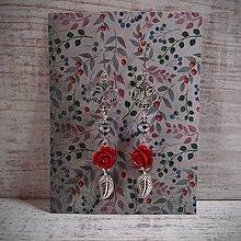 Náušnice - Náušnice royal, červené ruže, lístky, ornamenty.. - 12910503_