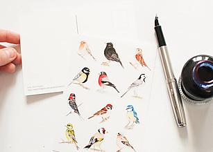 """Papier - Pohľadnica s nálepkami """"vtáčiky"""" - 12909123_"""