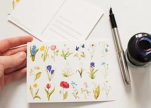 """Papier - Pohľadnica s nálepkami """"kvietky"""" - 12909151_"""