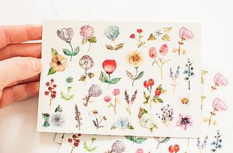 """Papier - Pohľadnica s nálepkami """"kvietky II."""" - 12909530_"""
