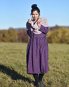 Šaty - Lněné zavinovací švestkové - 12910875_