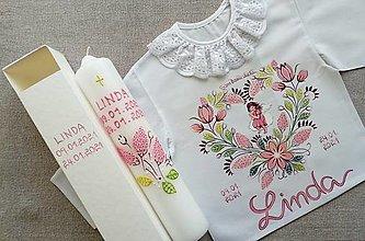 Detské oblečenie - Drobnokvetinový staroružový set do krstu s anjelikom - 12914444_