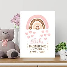 Detské doplnky - Tabuľka pre bábätko s údajmi ružová dúha - 12915134_