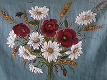 """Obrazy - Obraz """" Kytica maky a margarétky """" - maľované na ľane - 12915519_"""