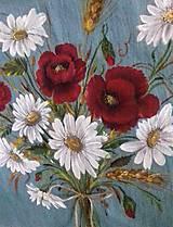 """Obrazy - Obraz """" Kytica maky a margarétky """" - maľované na ľane - 12915520_"""