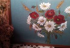"""Obrazy - Obraz """" Kytica maky a margarétky """" - maľované na ľane - 12915537_"""