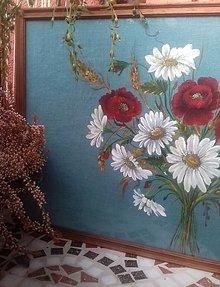 """Obrazy - Obraz """" Kytica maky a margarétky """" - maľované na ľane - 12915531_"""