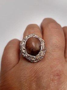Prstene - prsteň s ružovým kremeňom v kôre - 12912659_