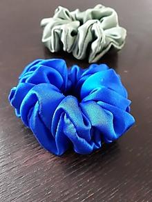 """Ozdoby do vlasov - Set 2 hodvábnych gumičiek- """"Kráľovská modrá so sivozelenou"""" - 12913084_"""