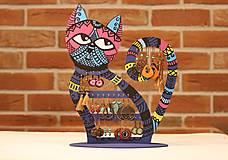 Dekorácie - Drevená mačka na náušnice  - 12912527_