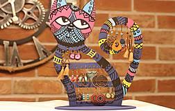 Dekorácie - Drevená mačka na náušnice  - 12912531_