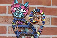 Dekorácie - Drevená mačka na náušnice  - 12912535_