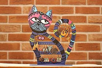 Dekorácie - Drevená mačka na náušnice - 12912526_