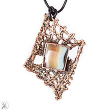 Náhrdelníky - medený šperk - paličkovaná čipka s achátom - 12914040_