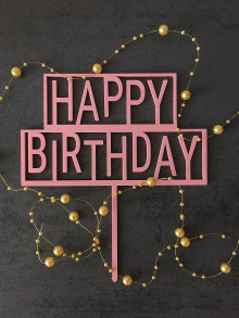 "Dekorácie - Zápich na tortu ""Happy Birthday"" - 12912286_"