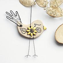 Dekorácie - vtáčik a slnečnica - 12918291_