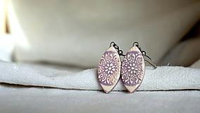 keramické náušnice č.325_ fialové ornamenty